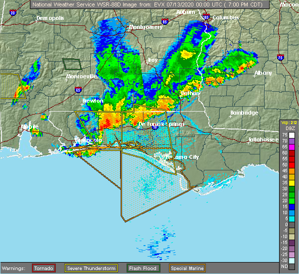 Radar Image for Severe Thunderstorms near Destin, FL at 7/12/2020 7:04 PM CDT