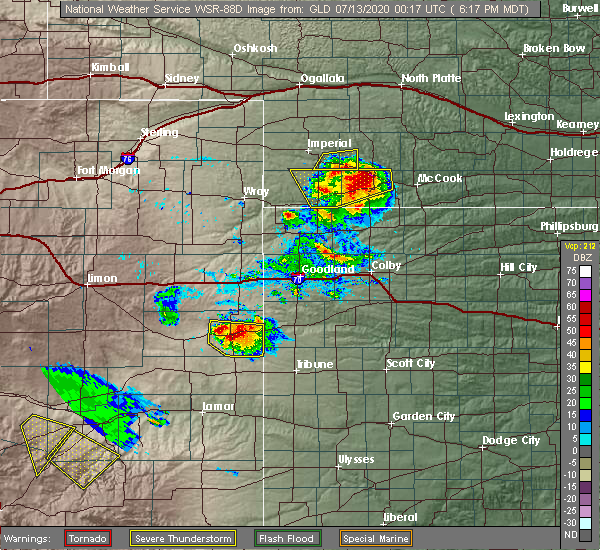 Radar Image for Severe Thunderstorms near Towner, CO at 7/12/2020 6:22 PM MDT