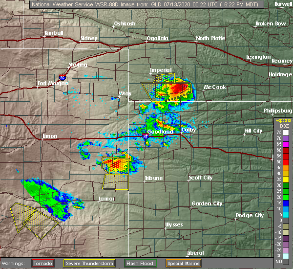 Radar Image for Severe Thunderstorms near Cheyenne Wells, CO at 7/12/2020 6:26 PM MDT
