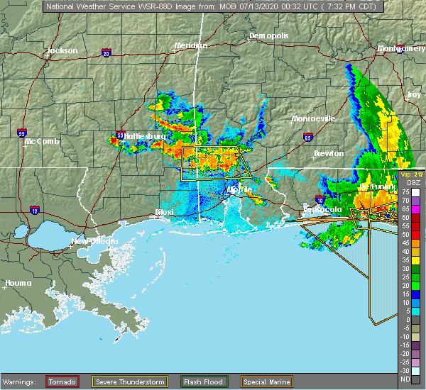 Radar Image for Severe Thunderstorms near Spanish Fort, AL at 7/12/2020 7:36 PM CDT