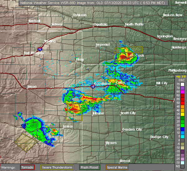 Radar Image for Severe Thunderstorms near Wallace, KS at 7/12/2020 6:57 PM MDT