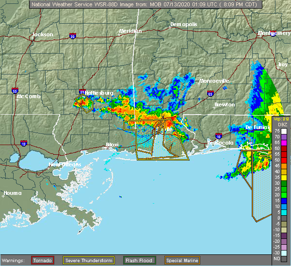 Radar Image for Severe Thunderstorms near Spanish Fort, AL at 7/12/2020 8:13 PM CDT