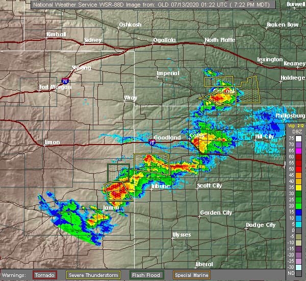 Radar Image for Severe Thunderstorms near Wallace, KS at 7/12/2020 7:25 PM MDT