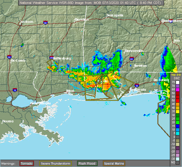 Radar Image for Severe Thunderstorms near Spanish Fort, AL at 7/12/2020 8:42 PM CDT