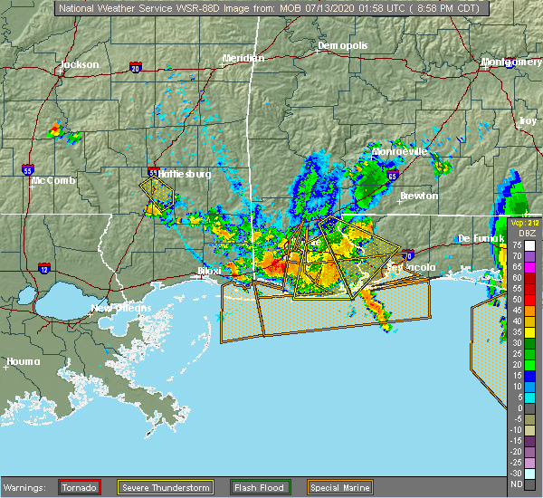 Radar Image for Severe Thunderstorms near Loxley, AL at 7/12/2020 9:04 PM CDT
