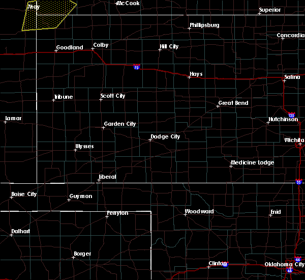 Radar Image for Severe Thunderstorms near Ulysses, KS at 7/12/2020 10:36 PM CDT