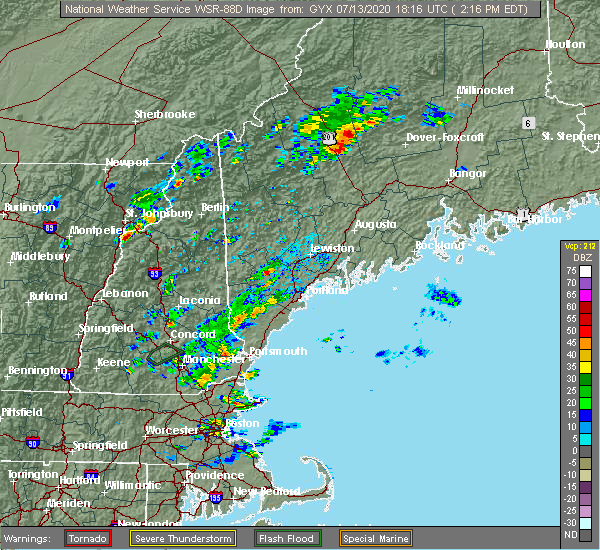 Radar Image for Severe Thunderstorms near Standish, ME at 7/13/2020 2:20 PM EDT