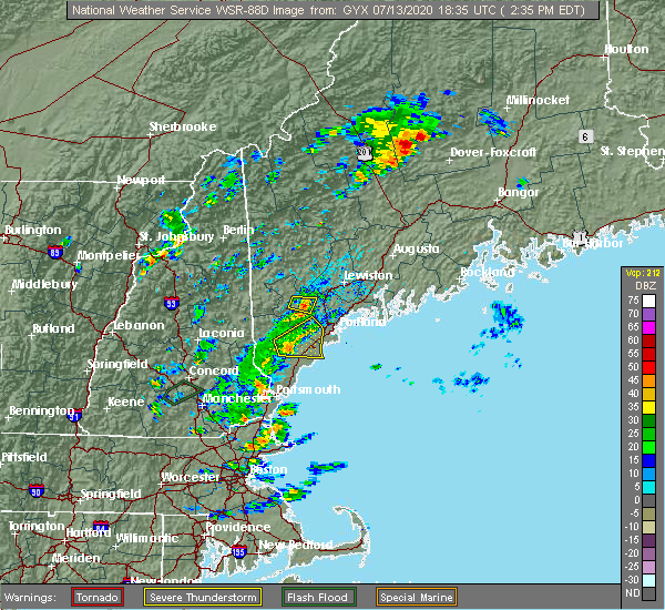 Radar Image for Severe Thunderstorms near Portland, ME at 7/13/2020 2:43 PM EDT