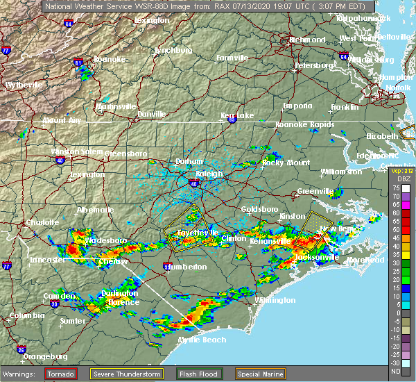 Radar Image for Severe Thunderstorms near Fayetteville, NC at 7/13/2020 3:14 PM EDT