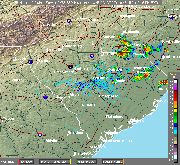 Radar Image for Severe Thunderstorms near Pageland, SC at 7/13/2020 3:49 PM EDT