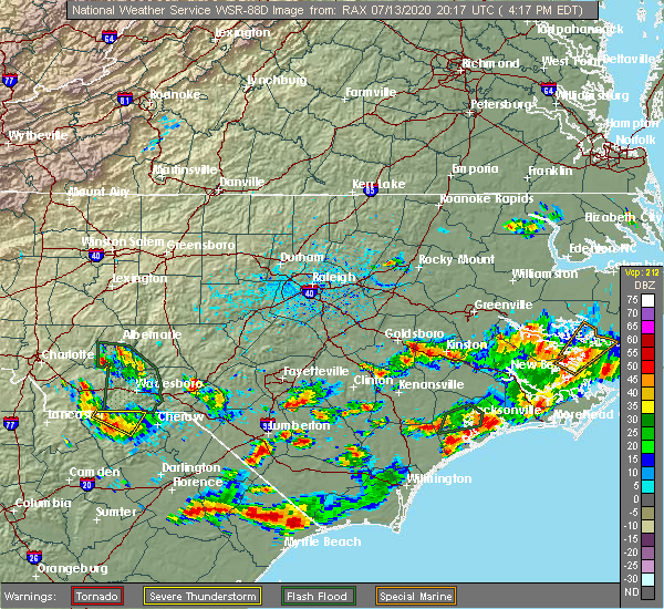 Radar Image for Severe Thunderstorms near Seven Springs, NC at 7/13/2020 4:20 PM EDT