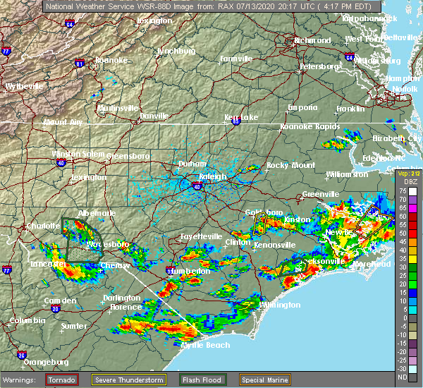 Radar Image for Severe Thunderstorms near Grifton, NC at 7/13/2020 4:24 PM EDT