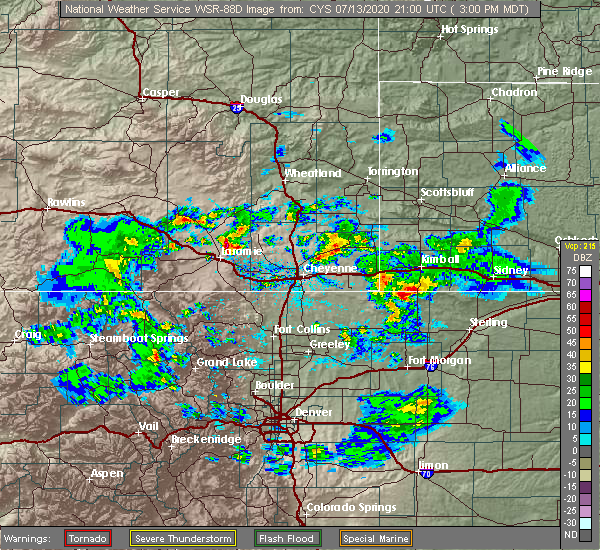 Radar Image for Severe Thunderstorms near Red Feather Lakes, CO at 7/13/2020 3:03 PM MDT