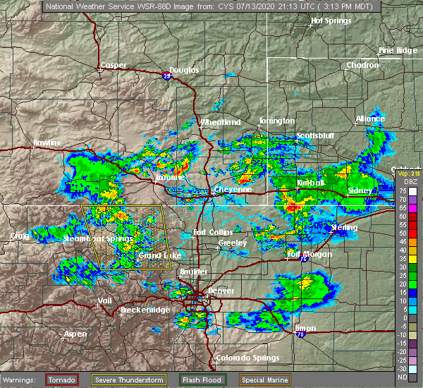 Radar Image for Severe Thunderstorms near Red Feather Lakes, CO at 7/13/2020 3:26 PM MDT