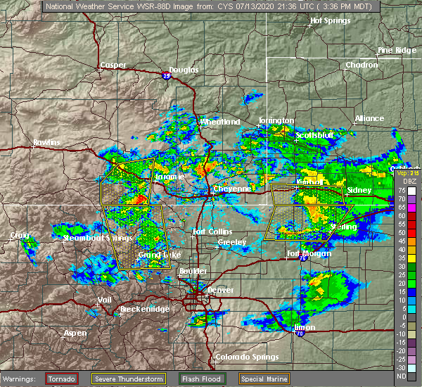 Radar Image for Severe Thunderstorms near Fort Collins, CO at 7/13/2020 3:39 PM MDT