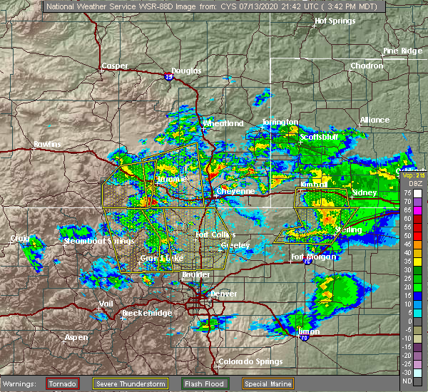 Radar Image for Severe Thunderstorms near Dix, NE at 7/13/2020 3:45 PM MDT