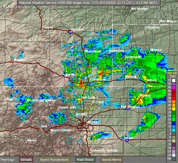 Radar Image for Severe Thunderstorms near Hillsdale, WY at 7/13/2020 4:18 PM MDT