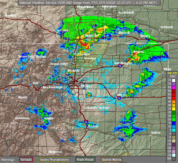 Radar Image for Severe Thunderstorms near Sterling, CO at 7/13/2020 4:32 PM MDT