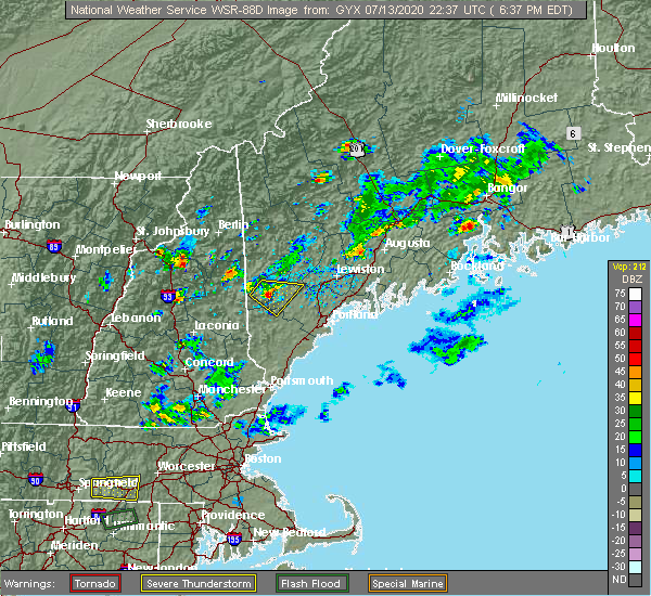 Radar Image for Severe Thunderstorms near Steep Falls, ME at 7/13/2020 6:41 PM EDT