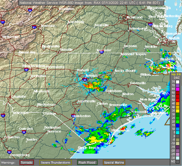 Radar Image for Severe Thunderstorms near Smithfield, NC at 7/13/2020 6:47 PM EDT