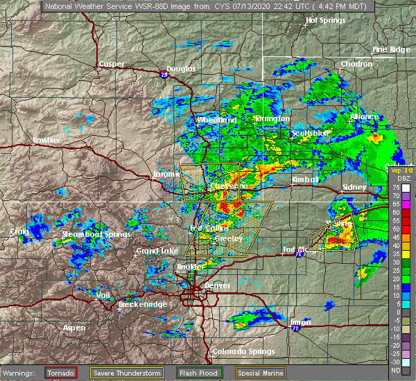 Radar Image for Severe Thunderstorms near Hillsdale, WY at 7/13/2020 4:47 PM MDT