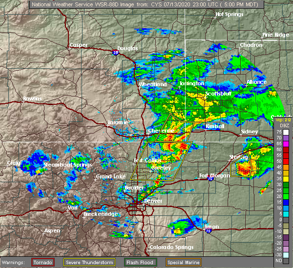 Radar Image for Severe Thunderstorms near Raymer (New Raymer), CO at 7/13/2020 5:03 PM MDT