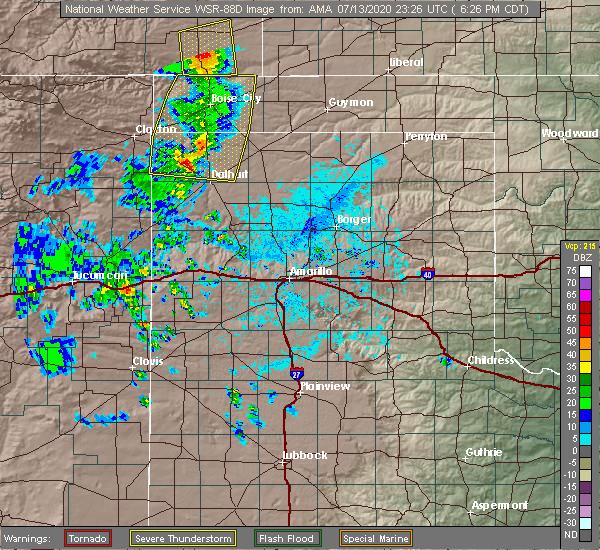 Radar Image for Severe Thunderstorms near Keyes, OK at 7/13/2020 6:32 PM CDT