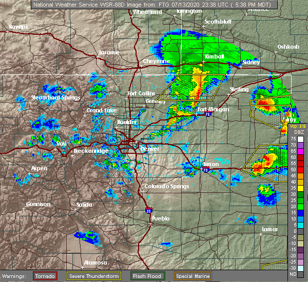 Radar Image for Severe Thunderstorms near Saddle Ridge, CO at 7/13/2020 5:41 PM MDT