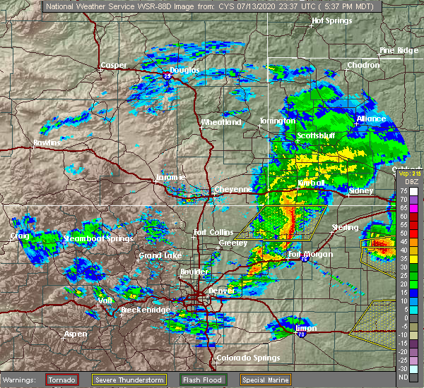 Radar Image for Severe Thunderstorms near Raymer (New Raymer), CO at 7/13/2020 5:43 PM MDT