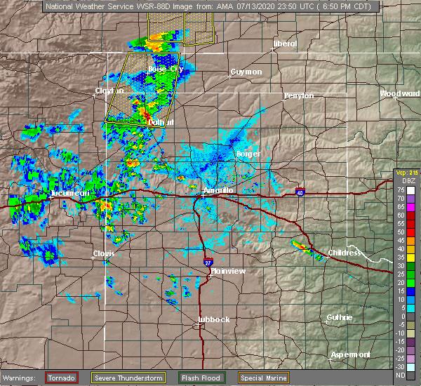 Radar Image for Severe Thunderstorms near Boise City, OK at 7/13/2020 6:54 PM CDT