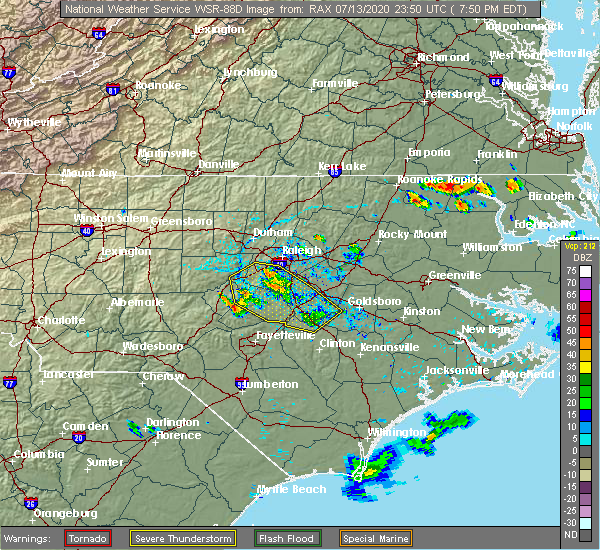 Radar Image for Severe Thunderstorms near Smithfield, NC at 7/13/2020 7:57 PM EDT