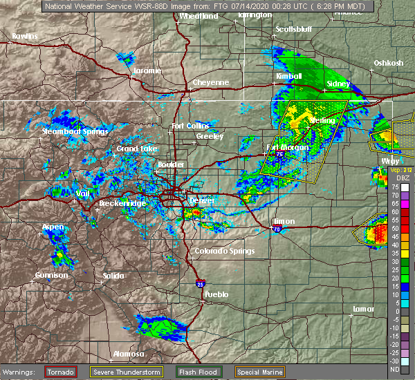 Radar Image for Severe Thunderstorms near Sterling, CO at 7/13/2020 6:32 PM MDT