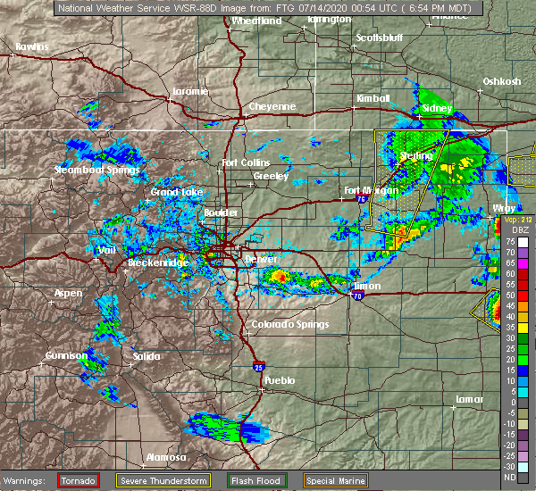 Radar Image for Severe Thunderstorms near Sterling, CO at 7/13/2020 6:56 PM MDT