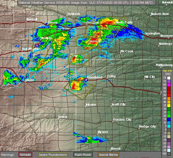 Radar Image for Severe Thunderstorms near Sharon Springs, KS at 7/13/2020 7:04 PM MDT