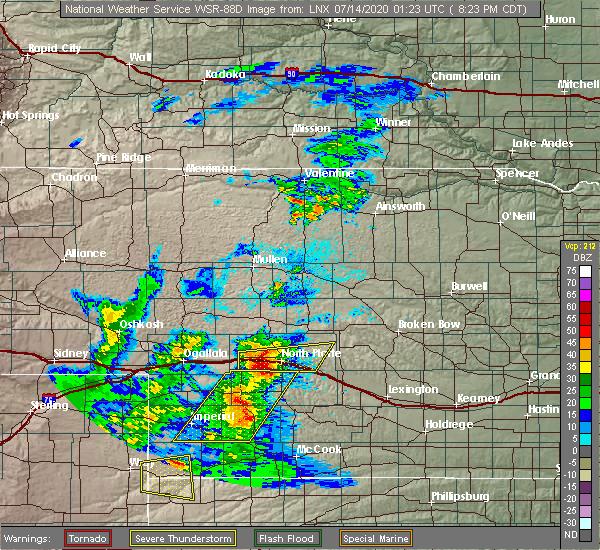 Radar Image for Severe Thunderstorms near Hayes Center, NE at 7/13/2020 8:29 PM CDT