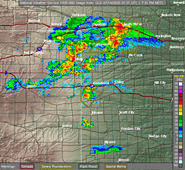 Radar Image for Severe Thunderstorms near Sharon Springs, KS at 7/13/2020 7:38 PM MDT