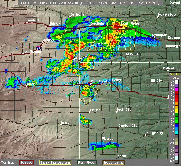 Radar Image for Severe Thunderstorms near Haigler, NE at 7/13/2020 8:38 PM CDT