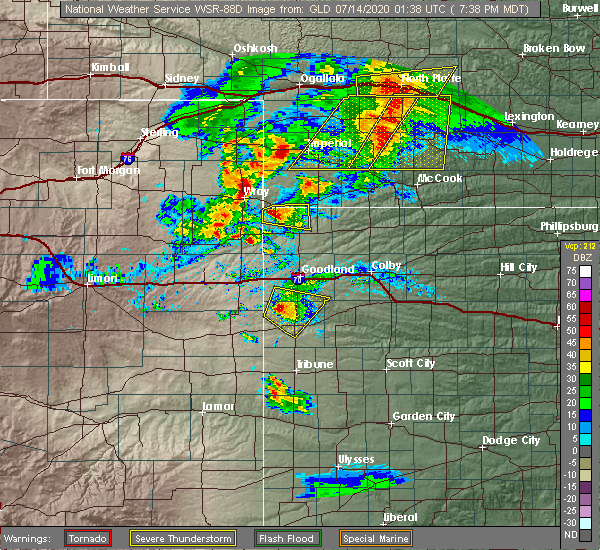 Radar Image for Severe Thunderstorms near Wallace, KS at 7/13/2020 7:44 PM MDT