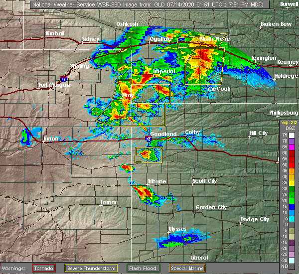 Radar Image for Severe Thunderstorms near Wallace, KS at 7/13/2020 7:58 PM MDT