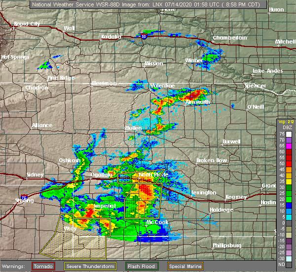 Radar Image for Severe Thunderstorms near Maxwell, NE at 7/13/2020 9:03 PM CDT