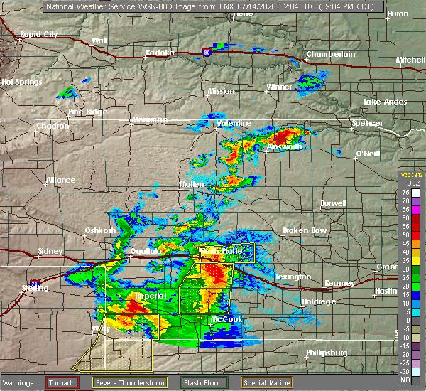 Radar Image for Severe Thunderstorms near Maxwell, NE at 7/13/2020 9:08 PM CDT