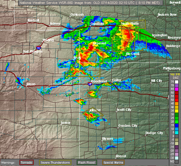 Radar Image for Severe Thunderstorms near Wallace, KS at 7/13/2020 8:13 PM MDT