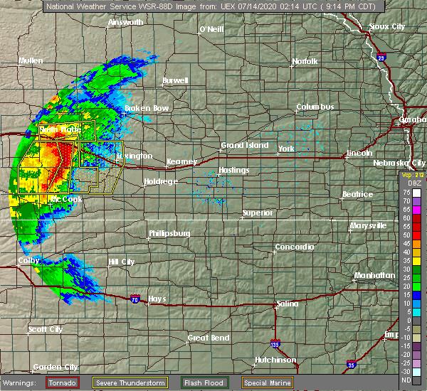 Radar Image for Severe Thunderstorms near Elwood, NE at 7/13/2020 9:16 PM CDT