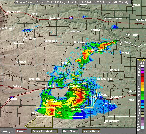 Radar Image for Severe Thunderstorms near Maxwell, NE at 7/13/2020 9:33 PM CDT