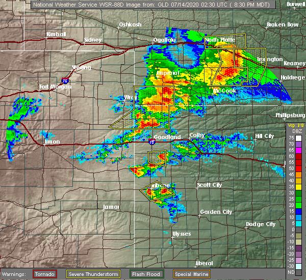 Radar Image for Severe Thunderstorms near Russell Springs, KS at 7/13/2020 8:36 PM MDT