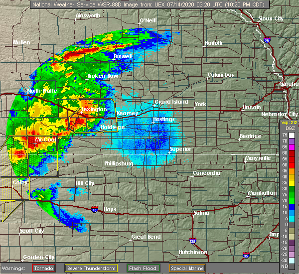 Radar Image for Severe Thunderstorms near Glenwood, NE at 7/13/2020 10:23 PM CDT