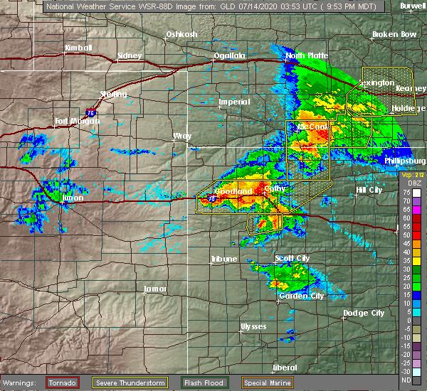 Radar Image for Severe Thunderstorms near Oakley, KS at 7/13/2020 11:04 PM CDT