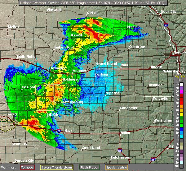 Radar Image for Severe Thunderstorms near Oxford, NE at 7/14/2020 12:00 AM CDT