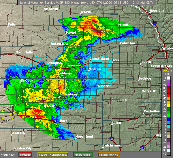 Radar Image for Severe Thunderstorms near Athol, KS at 7/14/2020 12:21 AM CDT
