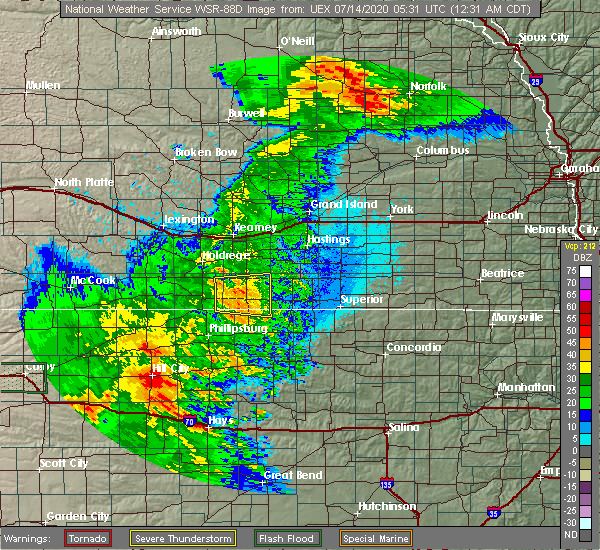 Radar Image for Severe Thunderstorms near Riverton, NE at 7/14/2020 12:39 AM CDT
